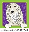 A cartoon image of an Afghan hound, created in the folk art tradition. - stock vector