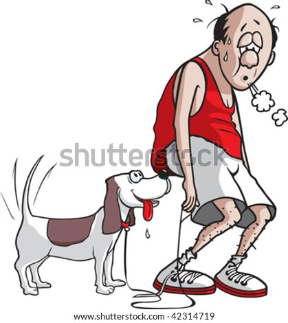 A cartoon jogger and his dog after they are done jogging. Jogger, dog and leash are on separate layers.
