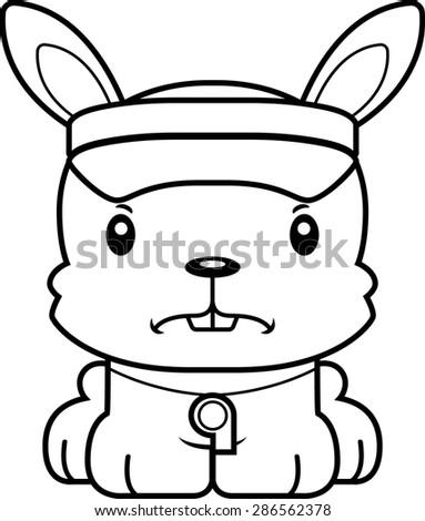 A cartoon lifeguard bunny looking angry. - stock vector