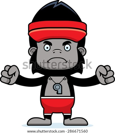 A cartoon lifeguard gorilla looking angry.