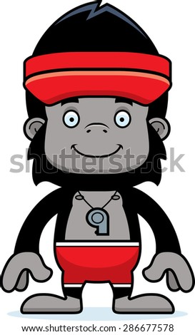 A cartoon lifeguard gorilla smiling.