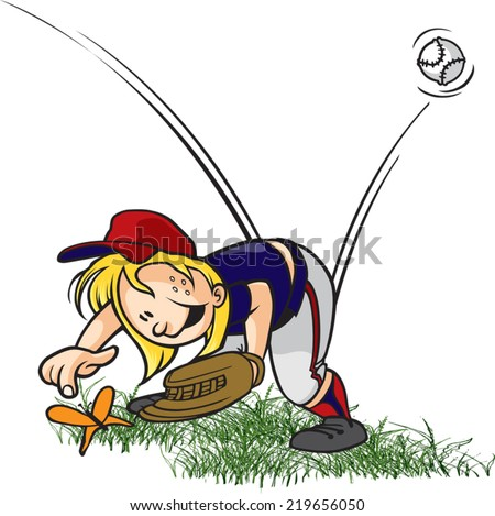 A cartoon little league baseball outfielder playing with a bug. Layered vector file available. Bugged Outfielder - stock vector
