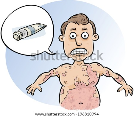 A cartoon man asks for cream to stop his huge rash from spreading. - stock vector