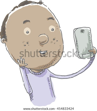 A cartoon man takes a selfie photo with a mobile phone.