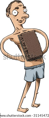 A cartoon man uses a brown swatch of shag carpeting in place of his missing chest hair. - stock vector