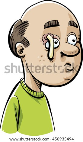 A cartoon man with a stye above his eye that has popped and is oozing pus. - stock vector