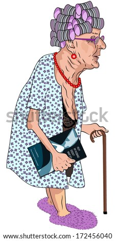 A cartoon of a bent-over, old lady with curlers in her hair, wearing a print housecoat, walking with a cane, and carrying a self-help book about sex. - stock vector