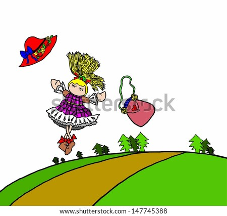 A cartoon of a cute young girl dancing freely in a rural green forest.  - stock vector