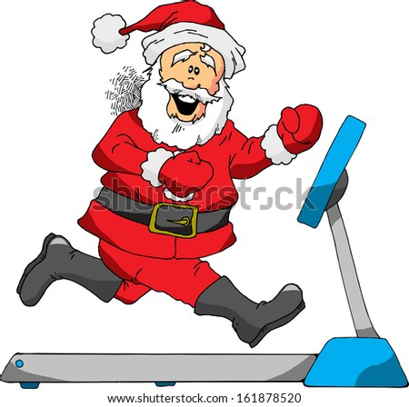 A Cartoon of Santa Running on a Treadmill
