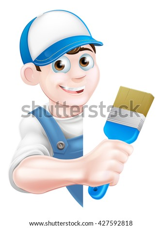 A cartoon painter decorator in a cap hat and blue dungarees holding a paintbrush and peeking around a sign - stock vector