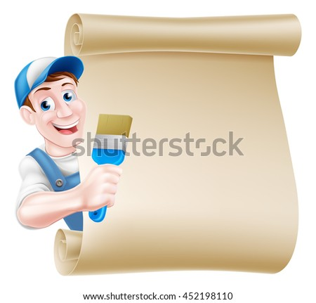 A cartoon painter decorator in a cap hat and blue dungarees holding a paintbrush tool and peeking around a scroll - stock vector