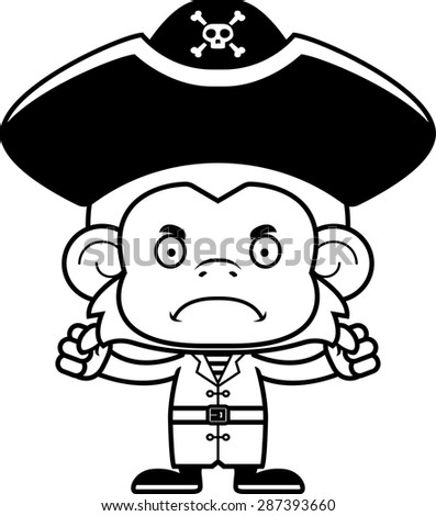 cartoon pirate monkey looking angry stock vector royalty free Angry Person a cartoon pirate monkey looking angry