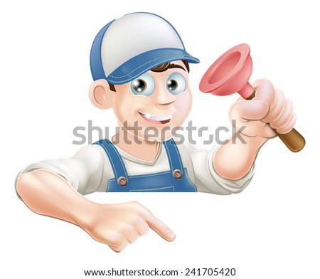 A cartoon plumber with a sink plunger peeking over a sign or banner and pointing at it - stock vector