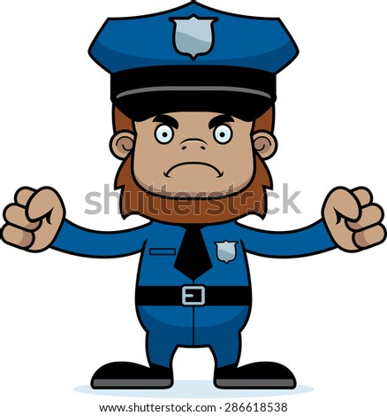 A cartoon police officer sasquatch looking angry.
