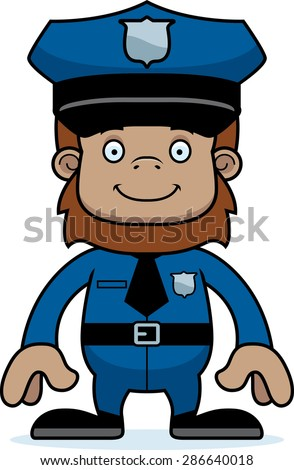 A cartoon police officer sasquatch smiling.