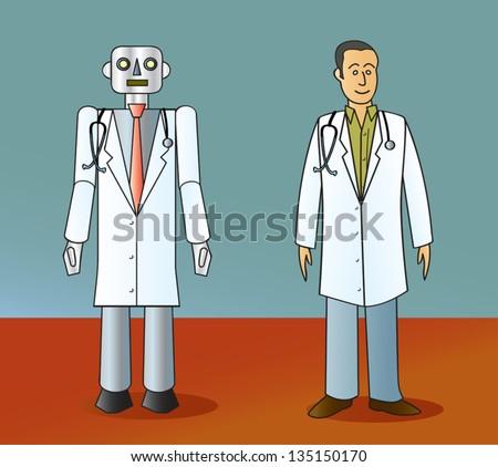 A cartoon robot doctor standing next to a human doctor. - stock vector