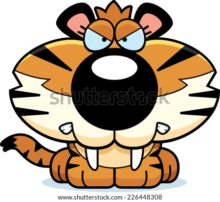 A cartoon saber-toothed tiger cub with an angry expression. - stock vector