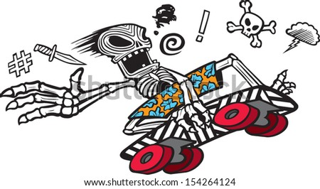 A cartoon skeleton skate boarder tearing it up. Vector file. - stock vector