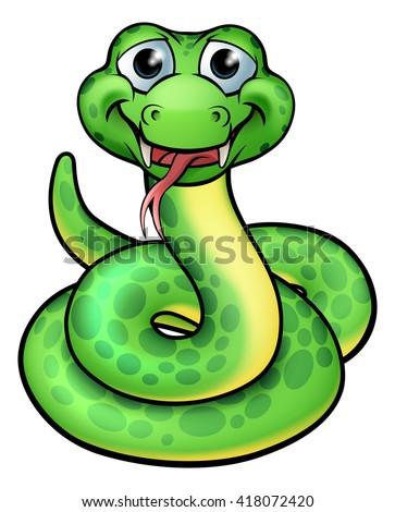 A cartoon snake character illustration - stock vector