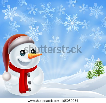 A cartoon snowman standing in a snow covered Christmas landscape winter scene - stock vector