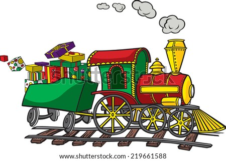 A cartoon Train. Layered vector file available. Train, presents and track are on separate layers. Christmas Train - stock vector