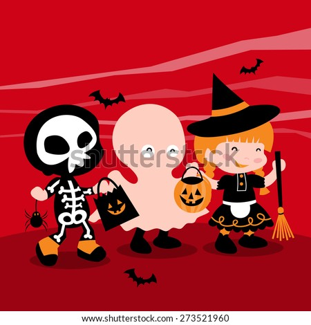 A cartoon vector illustration of a group of cute kids dressed up in typical halloween costume like ghost, witch and skeleton, going trick or treating. - stock vector