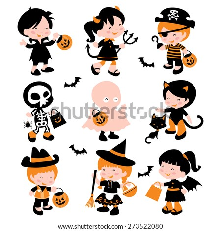 A cartoon vector illustration of a group of cute kids in halloween costume going trick or treating. - stock vector