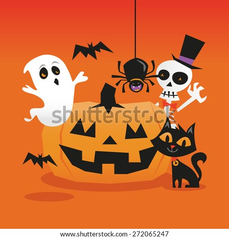 A cartoon vector illustration of a sexy witch holding a halloween pumpkin and broom in front of blank white scroll.