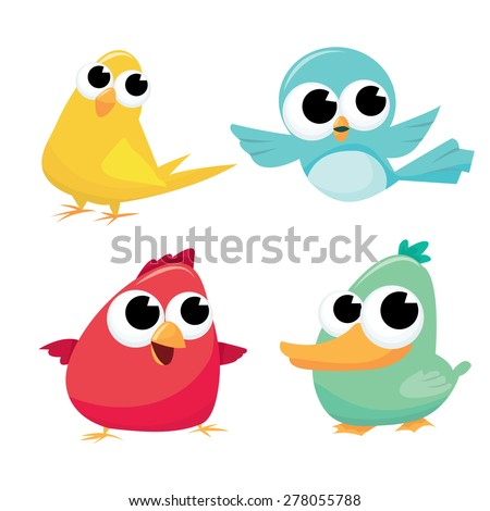 A cartoon vector illustration of four colorful little birds. - stock vector