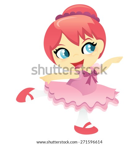 A cartoon vector illustration of happy little ballerina girl in pink tutu skirt. Some transparencies are used on the ballerina's dress.