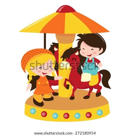 A cartoon vector illustration of kids at horse carousel. - stock vector