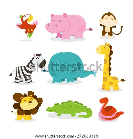 A cartoon vector illustration of nine various cute african jungle animals like parrot, hippopotamus, monkey, zebra, elephant, giraffe, lion, crocodile and snake.  - stock vector
