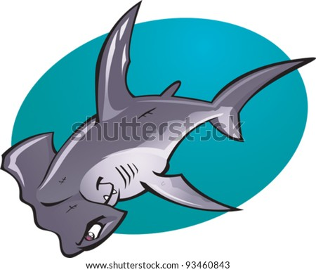 A cartoon vector illustration of the fearsome looking Deep water Hammer Head Shark. Part of a series of Various shark species. - stock vector