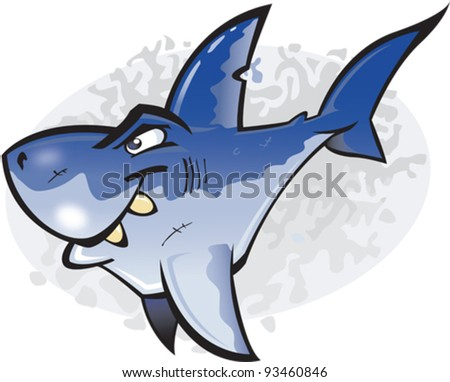 A cartoon vector illustration of the undisputed King of fish the Great White Shark. Part of a series of Various shark species. - stock vector