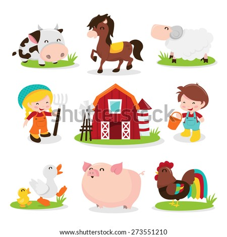 A cartoon vector illustration set of a group of happy barnyard farm animals and characters like cow, horse, sheep, farm girl, farm, farm boy, ducks, pig and rooster chicken.  - stock vector