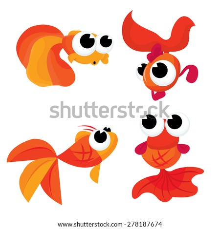 A cartoon vector illustration set of four cute goldfishes.