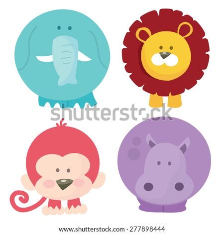 A cartoon vector illustration set of four cute safari animals like elephant, lion, monkey and hippo. - stock vector