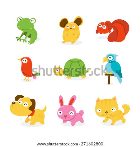 A cartoon vector illustration set of various happy pet shop animals like frog, hamster, goldfish, bird, turtle, parrot, puppy dog, bunny rabbit and pussy cat. - stock vector