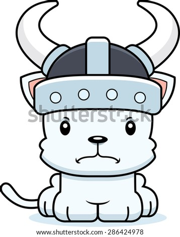 A cartoon Viking kitten looking angry.