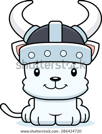 A cartoon Viking kitten smiling.