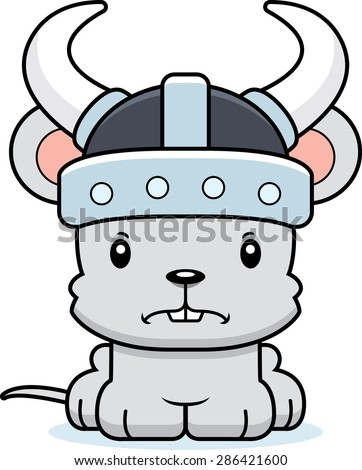 A cartoon Viking mouse looking angry.