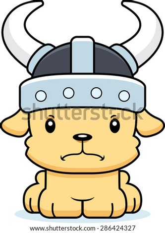 A cartoon Viking puppy looking angry.