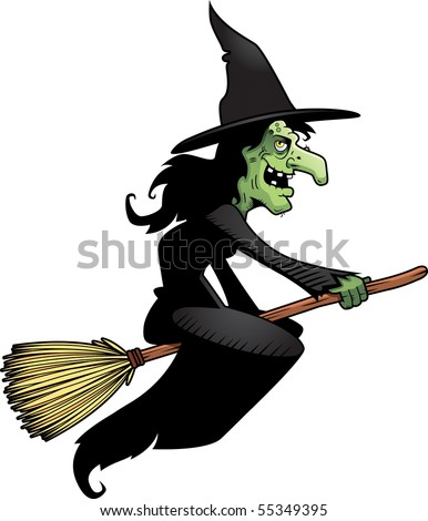 A cartoon witch flying on a broomstick. - stock vector