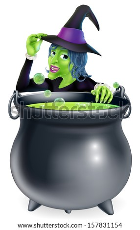 A cartoon witch saying hello peeking over a bubbling witch's brew in a big cauldron  - stock vector