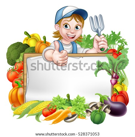 A Cartoon Woman Gardener Holding Gardening Tool And Giving Thumbs Up With Sign