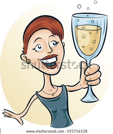 A cartoon woman holding a glass of sparkling wine. - stock vector
