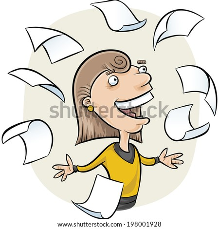 A cartoon woman surrounded by falling paper.