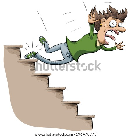 Cartoon Woman Trips Falls Down Stairs Stock Vector