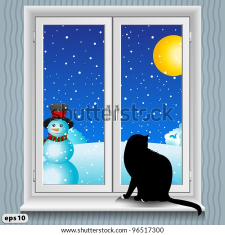 A cat sits on the windowsill. Winter. - stock vector