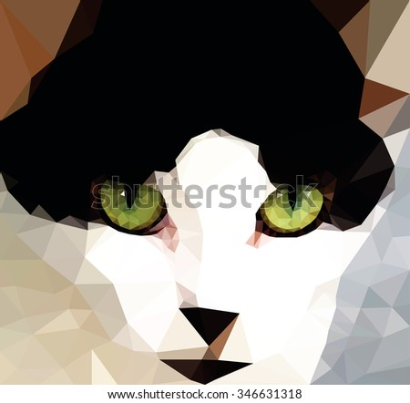 A cat with green color eye, low poly vector illustration.  - stock vector